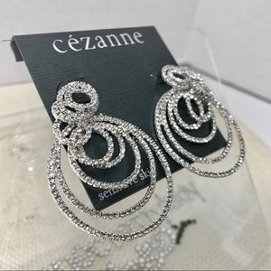 Silver tone Rhinestone Pierced Earrings BEAUTIFUL